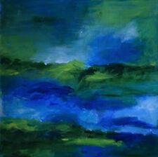 Grüne Landschaft Unikat Acrylbild Gemälde Bild auf Leinwand Signiert 20x20cm