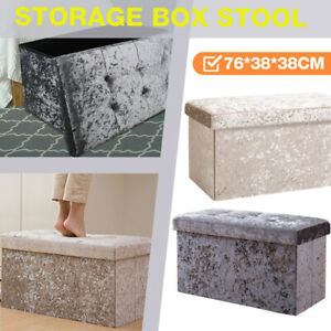 Large 2 Seat Folding Storage Ottoman Seat Storage Box Crushed Velvet Foot Stool