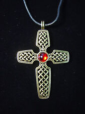 """JJ"" Jonette Jewelry Antique Gold Pewter WOVEN Red Stone CROSS 18"" Necklace"