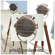 Spot Searching Marine Light Antique Copper Nautical Floor Lamp W/ Tripod Stand.