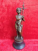Bella Statua IN Bronzo, Bambino Con Croce, Autografato: Tacca