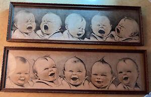 Vintage set Of 2 C.Twelvetrees Wood Framed Babies Pictures Happy & Sad Prints