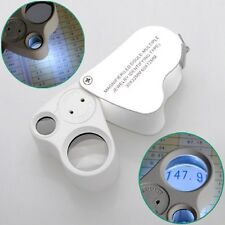 2 in 1 30x22mm 60x12mm Glass Magnifier LED Lens Loupe