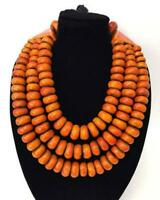 old African amber necklace,3 strand Amber Moroccan vintage Handcrafted Jewelry.
