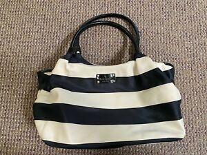 Kate Spade Nylon Striped Black Cream Diaper Bag