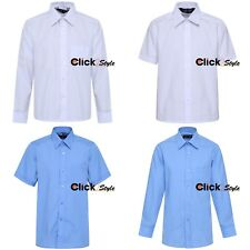 Boys Children Kids School Uniform Shirt Long & Short Sleeve 2 Colours