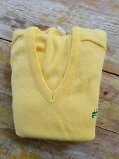 VTG JOHN DEERE Men's Pale Yellow V-Neck Sweater Size Small
