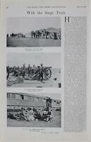 1900 PRINT SIEGE TRAIN MARCHING OUT OF CAMP HOWITZERS FOR FRONT AMBULANCE TRAIN