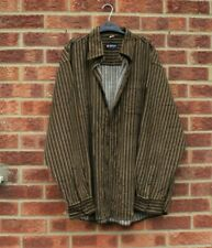 Vtg khaki green brown corduroy shirt jacket black striped cord patterned 3XL