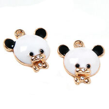 100pcs New Black&White Enamel Gold Plated Panda Animal Alloy Charms Pendant BS