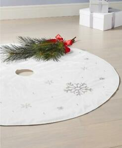 "Holiday Lane Metallic Silver Tone Snowflake Tree Skirt 48"" Dia. Approx MSRP $100"