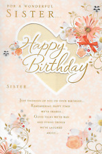 SISTER BIRTHDAY CARD,LOVELY VERSE, JEWEL,GLITTER FLOWERS,LARGE 7 X 11 INCH (Y1).
