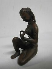 ANTIQUE ART DECO BRONZE SITTING LOVELY INDIAN NUDE LADY 4 1/2""