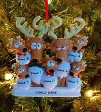 Reindeer Family Of 7 Personalized Christmas Tree Ornaments