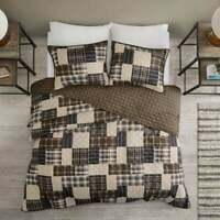 NEW! ~ COZY PLAID BROWN GREY BLACK RUSTIC TAUPE LOG CABIN LODGE SOFT QUILT SET