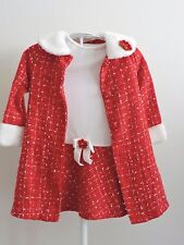 Youngland Red White Dress & Matching Jacket Outfit Winter Christmas Faux Fur 4