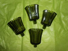 Four Home Interior Green Ribbed Votive Cups