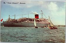 Old Postcard 82 Ocean Monarch Ship Bermuda Destroyed by Fire 1981 Furness B10