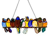 """Singing Birds on Wire Tiffany Style Stained Glass Window Panel  9.5"""" x 24.25"""""""
