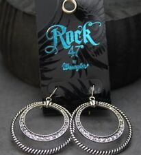 Rock 47 Outlaw Rider Rope and Rhinestone Circle Earrings Montana Silversmiths