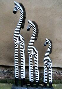 Wooden ZEBRAS with Mane Large 100 cm Medium 80 cm Small 60 cm Black~ White
