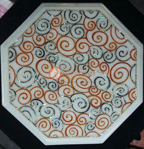 Weißer Marmor Kaffee Seite Top Tisch Karneol Mosaik Inlay Kunst Dekorativ Gifts