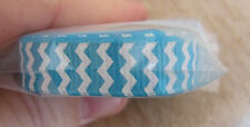 """3 x 36"""" lngths of RIBBON - TURQUOISE & WHITE CHEVRON, 1cm wide  **NEW**"""