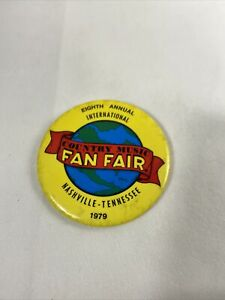 8th Annual Country Music Fan Fair Nashville Tennessee Event Pin Button 1979