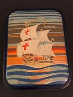 Sharps Toffee Tin SHIP Nina Pinta Santa Maria Vintage Advertising Litho Pre 1952