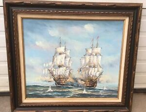 """Listed Artist James Harvey 20""""x24"""" Nautical Fighting Man Of War Ships Oil On Can"""