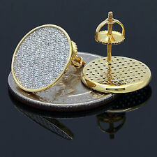 Mens .925 Gold Plated Sterling Silver Stud Round Screw Back Earrings 15mm Lab Cz