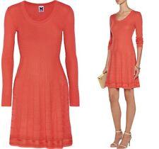 NWT SZ.12 $595 M MISSONI Knit Dress Zigzag Coral SZ.48 Wool