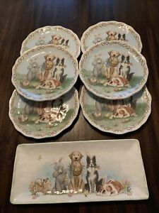 Pier 1 Imports DOG EASTER PARADE Dinnerware Plates & Serving Dish Poodle Bulldog