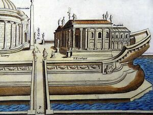 1624 LAURO Giacomo The Isola Tiberina ROME Italy - Hand color FOLIO engraving