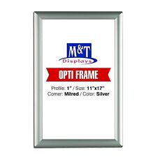 "11x17 Snap Frame, 1"" Profile, Safe Corners, Wall Mounted - Silver, Front Loading"