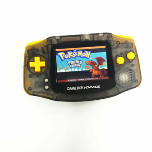 Clear Black GBA Game Boy Advance Console w/ iPS Backlight LCD MOD -Yellow Button