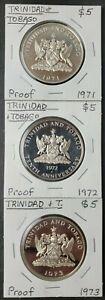 1971, 1972, and 1973 Trinidad & Tobago Proof $5 Silver Coins
