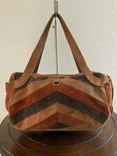 LUCKY BRAND Brown Multi Patchwork Leather Medium Shoulder Hobo Tote Purse Bag