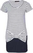 STRIPED BOW Sailor Kleid - Weiß / Schwarz Rockabilly Emo