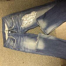 A7 Swarovski Sexy Jeans with Clear SWAROVSKI CRYSTALS Size 25 Strailght Leg