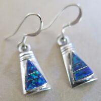 Sterling Navajo BM Earrings Pieced Blue Opal Inlay 2.5g [3408]