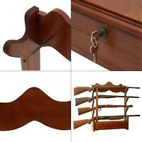 1.00 cu. ft. 4 gun wall rack | storage wood locking rifle display cabinet brown