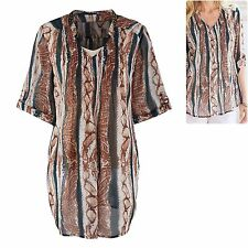 Joanna Hope size 12 Blouse Tunic Top Tab Sleeve Chiffon Brown Teal Marisota New