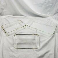 4 Pc PYREX Clear Glass Casserole Baking Dish 1 #233-R, 1 #231, 2 #213 Sz In Desc