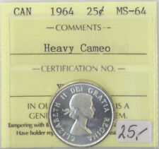 1964 Canada 25 Cents Silver Quarter MS-64 ICCS Certified Heavy Cameo XTG 891