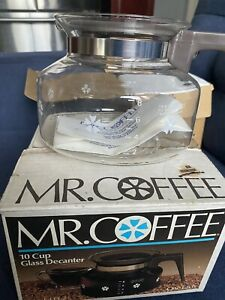 Mr Coffee 10 Cup Glass Decanter Replacement Pot Model D-7 Brown Lid NOS