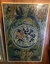 Vintage Aboriginal Dot Painting Wooden Plaque Unsigned Birds Fish Butterflies