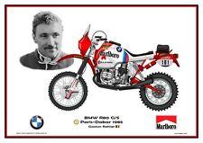 Print on Canvas Marlboro BMW R80 G/S 1985 #101 Gaston Rahier (BEL) White 80 x 60