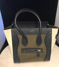 """Celine Paris Leather Micro Luggage Tote Tri-Color 10""""x10""""x 6' Made in Italy New"""