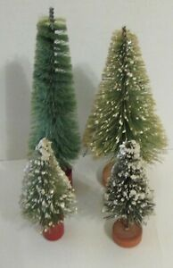 4 Vintage Bottle Brush Trees with Mica Red Wood Base Putz Village Christmas